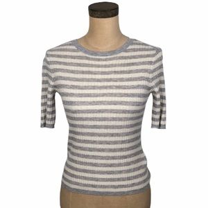 Vince cashmere stripe elbow sleeve sweater